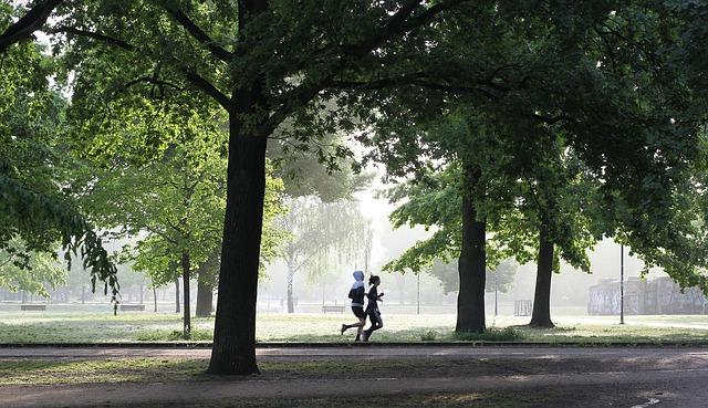 dvojice běžící v parku